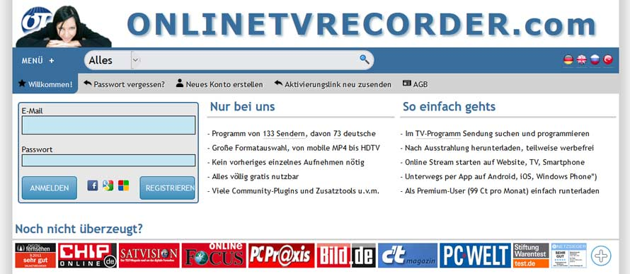 online tv recorder homepage